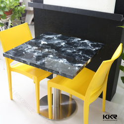 Marble stone two person coffee shop tables and chairs for sale