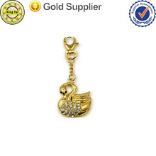 metal keyring with diamond/plating gold keyring/two plating color keyring