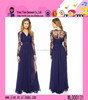 Fashion Long Sleeve V Collar Sexy Evening Dress Elegant Europe Style Cheap Long Lace Evening Dress
