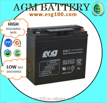 Deep cycle rechargeable 12v 17ah sealed lead acid battery storage battery