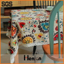 wholesale custom 2015 new style hot sales sunflower linen tablecloth