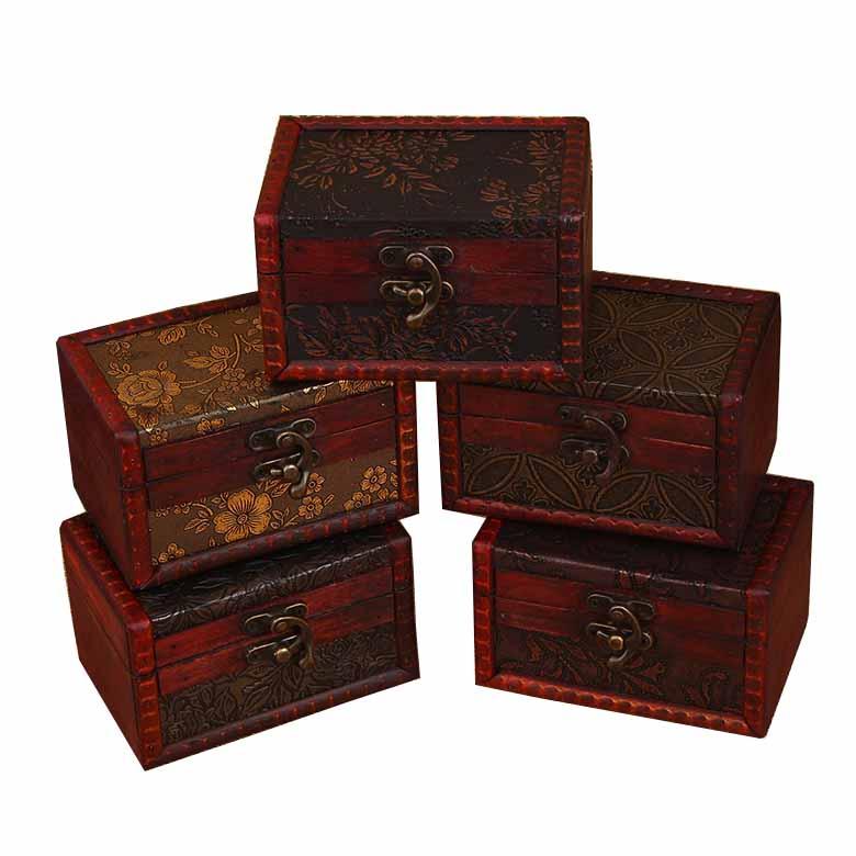 Atacado handmade Mini Do Vintage À Moda Antiga Caixa De Madeira Pequena de Metal Caixa De Madeira Caixa de Jóias Bloqueio Tesou