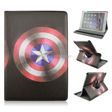 Captain America's shield PU Leather Smart Tablet Case For iPad air 2, Rotary Fold Stand Cover Case For iPad 6