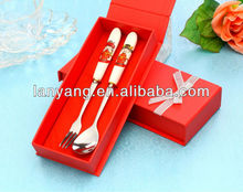 Chinese style bride & groom stainless steel wedding cutlery spoon and fork(DP-03)