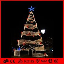 outdoor decoration light 3d motif commercial spiral christmas tree with star
