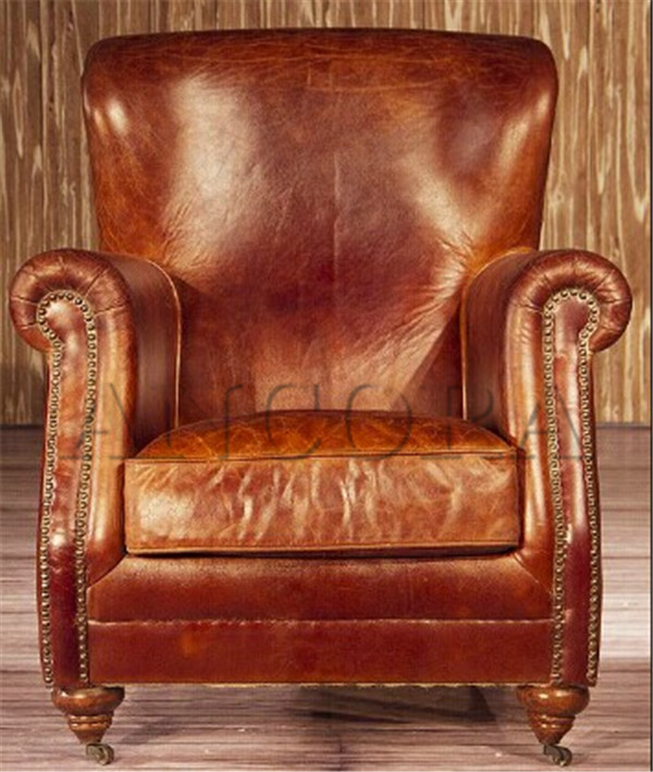 American style antique full real leather armchair single - Sofa piel vintage ...