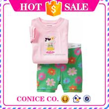 green flower pants & cute monkey top matching 2-piece short summer girls pajamas sets cartoon comfortable pajamas of wholesale