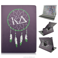 Good Quality Black Skin Dream Catcher Design 12.9inch Folio Stand 360 Rotating PU Leather Cover Cases For iPad Pro