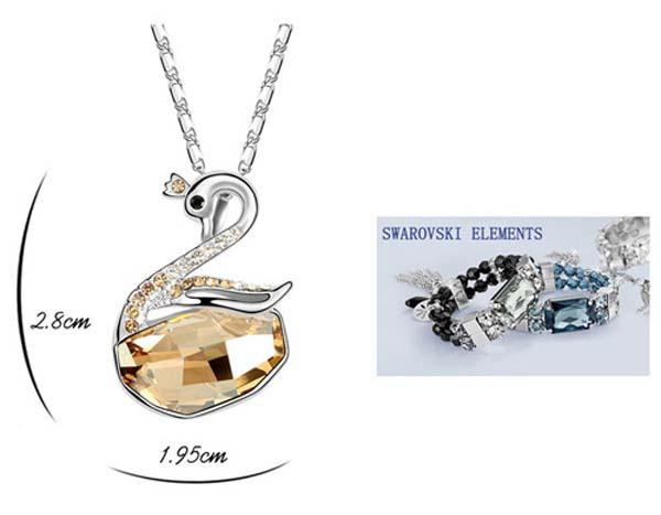 Bisuteria de moda fabricante hecho con swarovski elementos de cristal collar wish cisne