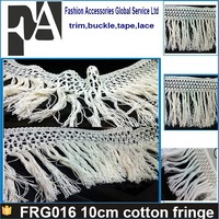 White cheap cotton machine trimming carpet 10cm fringe for bed sheet