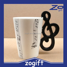ZOGIFT BUYNEED Lovely Fashion Unique Cool Coffee Milk Ceramic Tea Mug Cup With Guitar Musical Note Best Gift(Black)