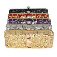 Guangzhou handcee gold metal box clutch evening bag