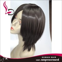 Beautiful bob style human hair full lace wig , Peruvian virgin hair short lace wigs for African Americans