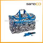 Black & White Zebra com azul escola elogio dança duffle bag, Bolsa de viagem, Saco listrado