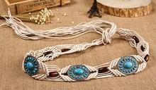Latest 2015 fashion bead braid fabric belt