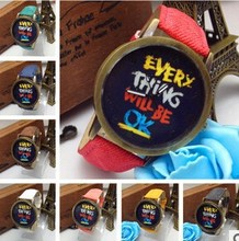 """8 Colors Watch With Word """" Every Thing Will Be Ok """" Retro Graffiti Denim Leather Cartoon Personality Men & Women Quartz Watches"""