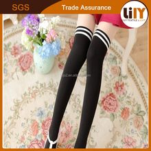 Fashion knee high black socks Acrylic/Nylon/Spandex Copper Fibe Socks