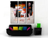 3 piece modern decoration art set Abstract Plentiful of colors Palette knife hand painted Oil Painting on Canvas for living room