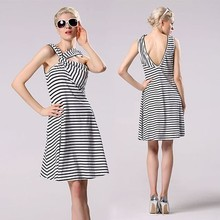 Mature Women Sexy office Cross Front Deep V Back Stripe Sleeveless Slim Casual Marriage Party Dress YC000145