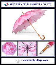 Auto open wooden shaft and handle pink flower rain on umbrella