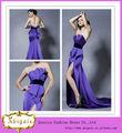 hecho en china formal de color púrpura de satén sin tirantes acanalada raja lado sexy hot couture vestido de noche( yw329)
