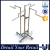 retail garment shop 4 way rolling clothes rack,display clothes rack on wheels