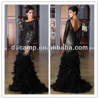 OC-1768 Stunning beaded fitted bodice ostrich feathered skirt sexy long sleeve mermaid evening dress black