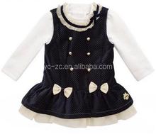 2015 fashion long sleeve velvet formal girls kids cotton frocks design