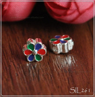 925 Flower Authentic Nagara sterling silver and enamel flower bead for European charm bracelet