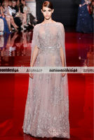 Latest Design Elie Saab Long Sleeve High Neck Full Silver Beaded Sequined Luxury Champagne Lace Full Length Evening Dress