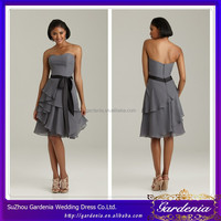 New Arrive Fashion Strapless Ruffle Skirt Zipper Back Chiffon A-line Grey Sash Satin Knee Length Bridesmaid Dress (SA957)