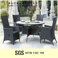 Modern Design Luxury Wicker Rattan Resin Hotel Restaurant Outdoor Furniture Set Antique High Back Chair and Round Table for Sale