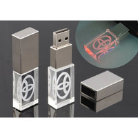 8GB 16GB 32GB Crystal USB Flash Drive/Disk/Pendrive with Toyota Logo LED Light