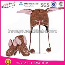 Bunny Fashion Winter 100% Wool Nepal Knitted Faux Fur Animal Hat