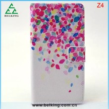For Sony Z4 Painting Colorful Leather Case, Flower Design Case For Sony Z4 Flip PU Case