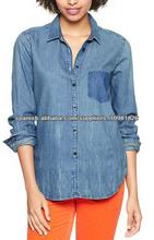 100 % algodón elegante manga larga camisas de mezclilla para mujeres