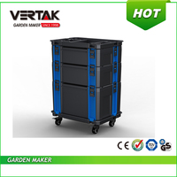 Cheapest price with CE/ROHS approved multi-function with wheels plastic interlocking garden tool box