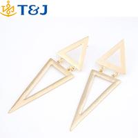 2015 hot! fashion women alloy gold silver Plated drop earrings European style double triangle Stud Earrings