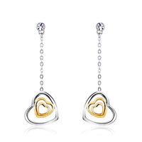 OUXI Korean style fashion rhodium plated heart long chain earrings 20390