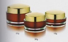 15g ~ 300g red round PMMA plastic cosmetic jar with golden cap