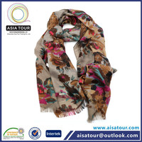 Latest Design Ladies Scarf With Floral Fringed Cotton Scarf/ Winter Cashmere Shawl