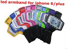 Fashion Adjustable Sport Running Neoprene Armband for iPhone 6/ 6 Plus Waterproof Armband case with LED