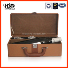 wholesale Customize handmade box PU Leather Wine Gift Box/Wine Bottle Carrier Case