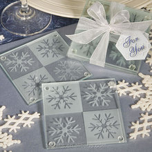 Factory make snowflakes glass coasters for sale