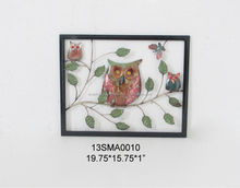 The owl hiding in the leaves metal wire wall art wholesale