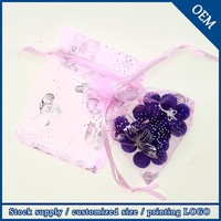 Wholesale 9x12cm Butterfly Printed Light Pink Small Organza Jewellery Packaging Bags