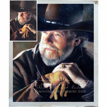 Handmade western old cowman potrait oil painting