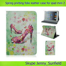 Super slim colorful spring folio leather case for ipad mini 2 , for ipad mini 2 case folio