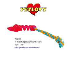 """PROMOTIONAL 13.5"""" TPR SOFT SPRING DOG WITH ROPE TPR TOY DOG TOY"""