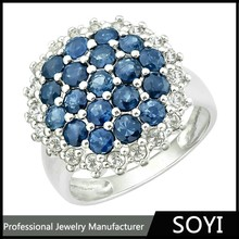 hot selling latest design silver jewelry classic cluster ring